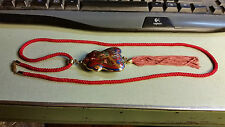 "Unique Asian Vintage ""Cloisonne ""Peacock, 26 Inch Red rope tassel Necklace/Charm"