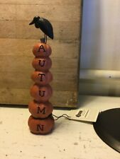 Country Primitive Resin Blossom Bucket Pumpkins Autumn Black Bird
