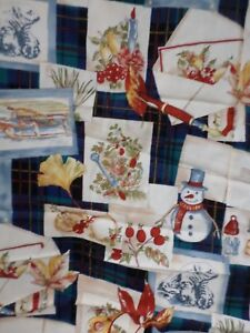 Winter  FABRIC Timeless Treasures 1996 VTG Snowman/ Bird/ Collages  Rare  SBTY