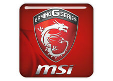 "MSI Gaming G Series Red 1""x1"" Chrome Domed Case Badge / Sticker Logo"