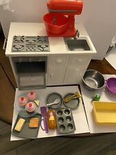 "My Life As Kitchen Island Play Set for 18"" doll Sink Stovetop Oven And Other Lot"