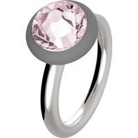 HIP HOP Anello donna Happy Loops HJ0149 acciaio misura cristallo rosa 14 bijoux