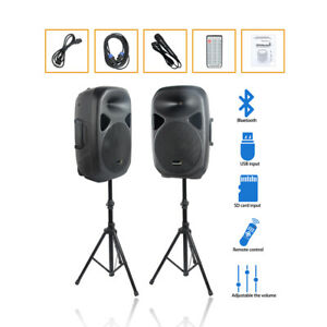 """Dual 15"""" 2500W Powered PA Speakers System Height Tripod Stands Wired Microphone"""
