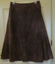 COLDWATER CREEK Long Chocolate Brown Leather Skirt - Misses size M