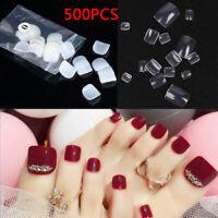 500Pcs Toe Artificial False Nails Nail Art Tips Foot Fake Manicure Toenail Tools