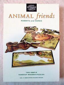 "Vintage Optimago Junior Handcut Wooden Puzzles ""Rabbits and Hares"" 15 Pieces"