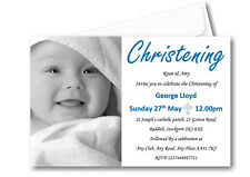 40 Personalised Boys Blue Christening Day Invitations Invites Ref C61