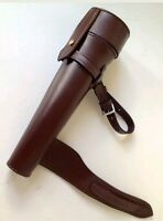 HUNTING SADDLE HIP STEEL FLASK BATON & THICK LEATHER CASE - HAVANA OR BLACK