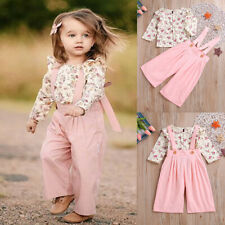 Toddler Kids Baby Girls Clothes Floral Shirt Tops+Jumpsuit Pants Outfits Set
