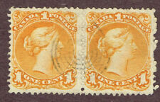 CANADA LARGE QUEEN #23 F-VF  PAIR SON CANCEL (OCT4,4