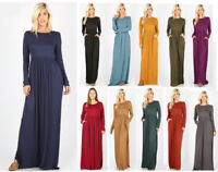 Women's Plus Casual Soft Maxi Dress Solid Basic Long Sleeve Pockets Ruched Waist