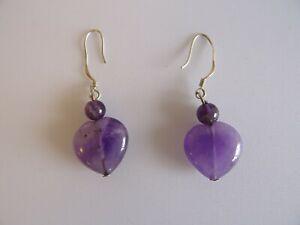 Earrings pair #5 solid 925 silver heart shaped purple amethyst? drop dangling ch