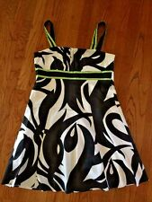 KIM ROGERS Sexy WOMENS SUNDRESS CLASSY Lime & Black Sexy LINED DRESS SIZE 14