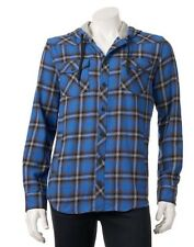 New NWT Men's Company 81 Hooded Plaid Button Down Shirt Jacket L (M)