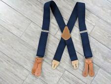 vintage CARHARTT elastic SUSPENDERS leather ONE SIZE blue work