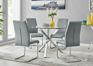 SELINA Square Leg Chrome Round Glass Dining Table & 4 Faux Leather Dining Chairs
