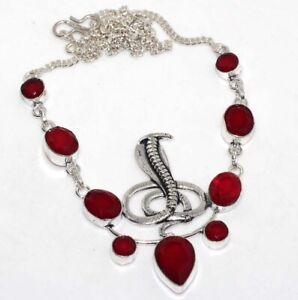 "Red Onyx 925 Silver Plated Gemstone Handmade snake Necklace 15"" Birthday Gift GW"
