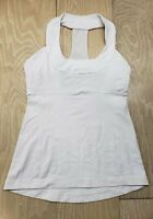 Lululemon 6 Tank Top Built in Bra Fitted White Athletic Yoga Gym Run No Pads
