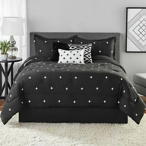 Mainstays 7 Piece Comforter Bedding Set Embroidered Cross Full/Queen Black New