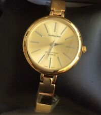 Montres Carlo Womens Gold Watch IP Collection Round Gold Dial Gold Slim Bracelet