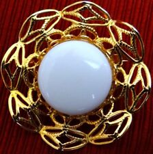Art Deco Pin Brooch Plastic Center Gold Tone Ornate Filigree Mount Border Wreath