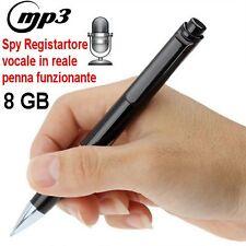 PENNA SPY 8GB REGISTRATORE VOCALE DIGITALE AUDIO MP3 AUTONOMIA FINO AD 8 ORE