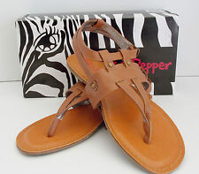 Womens Slingback Flat Thong Sandal Pink & Pepper Stately Light Brown Size 9½ NIB