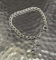 Vintage Hallmarked Sterling Silver Curb Chain Bangle Charm Bracelet Cherub Charm