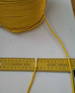 20m X 4mm YELLOW DOUBLE BRAID POLYESTER YACHT DINGHY MARINE SAILING ROPE 420kg