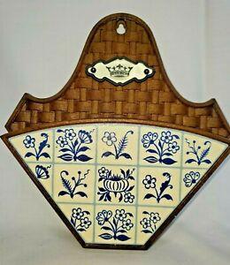 Vintage WALL POCKET Brown Basket Weave Blue Floral Delft Style West Germany