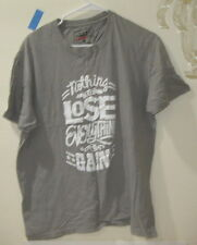 Get Fame Us Nothing Lost Everything To Gain Gray Logo Tee Size L *