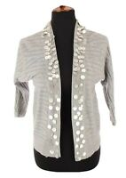 Peck & Peck Anthropologie Womens Sweater Jacket Cardigan Shimmer Silver Sz Small