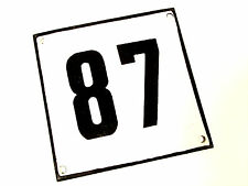 Vintage Antique German Porcelain Enamel Street House Number 87 Metal Sign 1960's