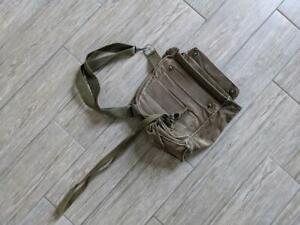 """vintage US ARMY green shoulder bag 12"""" vietnam WWII messenger gas-mask"""
