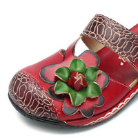 SOCOFY Women Bohemian Backless Slippers Floral Shoes Leather Casual Sandals  *