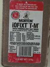 2 4lb Morton iOFIXT T-M  Trace Mineral Salt Brick, Deer Horses Cattle Pigs