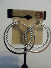 NEW BUCKLE EARRINGS SILVER TONE DOUBLE HOOPS TWISTED & SMOOTH   *X4*