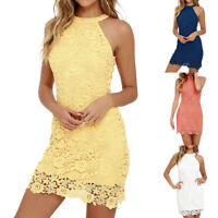 Women Sexy Sleeveless Lace Bodycon Dress Evening Party Club Short Mini Dresses