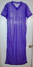 "PURPLE SHEER NYLON CAFTAN LOUNGE DRESS * 48"" Chest * 62"" Length* Men Women Large"