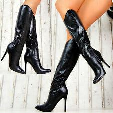 Elegante Damen Stiefel Stilettos Schlangenmuster Lack Sexy Schuhe Party M31