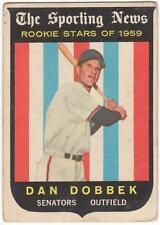 1959 Topps  #124    DAN DOBBEK   WASHINGTON SENATORS    ROOKIE    VG to VG+