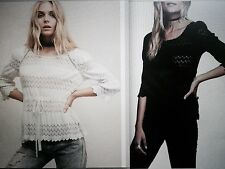 NEW S FREE PEOPLE ISLAND TOP WHITE OR BLAC blouse tunic black lace crochet SEXY