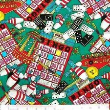 Fun and Games Bingo, Bowling, Dominoes Cotton Fabric by the Yard