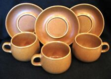 3 DENBY RAMSHEAD AUTHENTIC ENGLISH STONEWARE CUPS & SAUCERS Gold Amber Tan