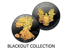 2016 1 OZ SILVER $1 AMERICAN EAGLE COIN BLACK RUTHENIUM-24KT BLACKOUT COLLECTION