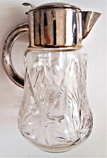 VTG Western Germany Claret Jug /Cut Glass/ Glass Cooler/ Silver plated Collar