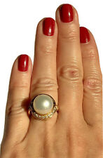 14K Yellow Gold South Sea Pearl Baguette Diamond Vintage Cocktail Ring Size 5.75