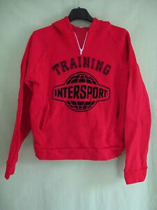 Sweat Capuche Intersport Training Vintage Rouge 80'S Acrylique Tracksuit - XS