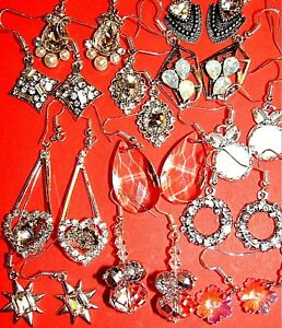 SELECTION SPARKLY CRYSTAL SHAMBALLA PEARL DANGLE EARRING BOW FLOWER SILVER WIRES