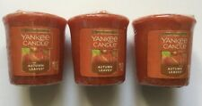 Yankee Candle AUTUMN LEAVES LOT OF 3 WRAPPED VOTIVES FALL FAVORITE SCENT